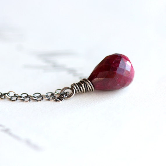 July Birthstone Ruby Gemstone Necklace with Sterling Silver Chain, Wire Wrapped Summer Fashion