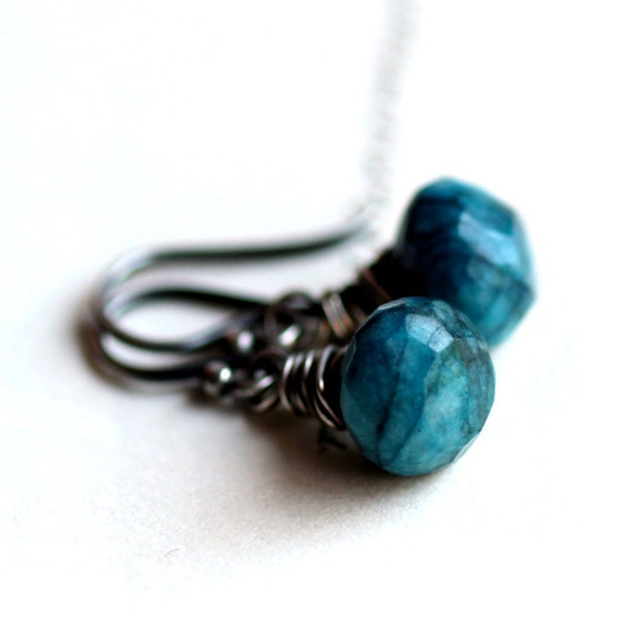 Blue Chrysocolla Gemstone Earrings Wire Wrapped Briolettes Oxidized Sterling Silver - Summer Fashion Ocean Blue