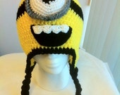 Crochet Critter Character Despicable Me One Eye Minion inspired Earflap or beanie hat - Made to order.
