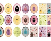 Chicks - PRINTABLE 1 Inch Circles and Squares Digital Collage Sheet