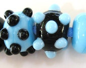 Lampwork Earring Bead Pairs: Lampwork Beads in Black and Turquoise