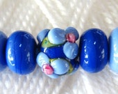 Handmade Glass Lampwork Necklace Beads in French and Powder Blue Set 2