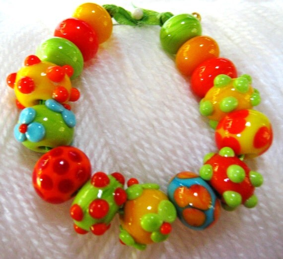 Bracelet Beads:Lampwork Handmade Tropical Colored Beads-Mango Delights--Mexican Fiesta Beads-Set2