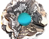 Gray lace with teal silk flower pin/hair clip