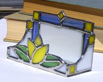 Yellow Tulip Business Card Holder Stained Glass Dutch Office Art