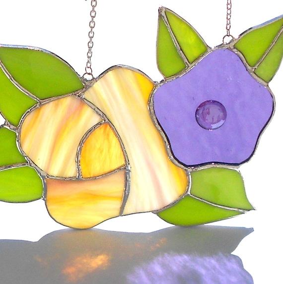 Rose & Flower Stained Glass Suncatcher