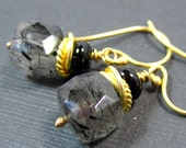 SALE 30%// Floating Orbs Earrings // Black Rutilated Quartz and Black Onyx on 24k Vermeil
