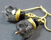 SALE 30%// Floating Orbs Earrings // Black Rutilated Quartz and Black Onyx on 24k Vermeil