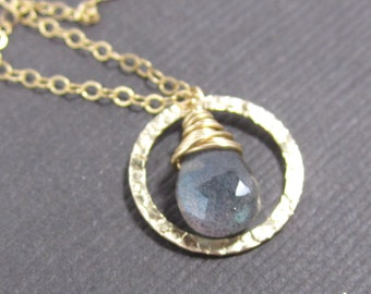 Petite Pirouette - AAA Blue-Flash Labradorite and 14k Gold Filled Hammered Circle Charm