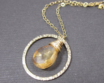 NOW REDUCED - Proper Pirouette - Mystic Apricot Quartz faceted pear and 14k Gold Filled Hammered Circle Charm