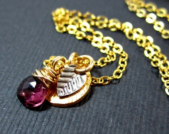 SALE 30%// Simply Charming Necklace// Rubilite Garnet with Disc and Leaf Charms on Gold