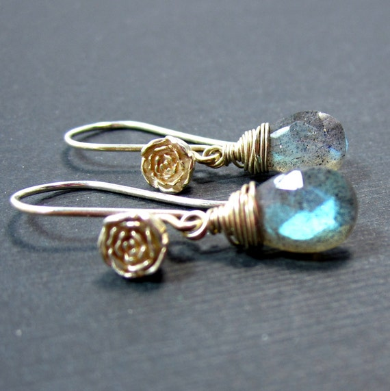 Bright Horizons // Blue-Flash Labradorite on Sterling Silver Rose Earwires