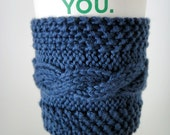 100% Cotton Cabled Coffee Cup Cozy - Dark Midnight Blue Cotton Yarn - Cable Hand Knit  - Ready to Ship