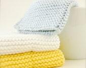 "Sunshine and Beach 100% Cotton Wash Cloths - Light Grey Blue, Sunshine Yellow, Bright White - Small 7.5"" - Hand Knit Stitch -  READY TO SHIP"