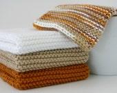 "100% Cotton Wash Cloths - Sandy Tan, Burnt Orange, Bright White - Small 8"" - Hand Knit Stitch - Ready To Ship"