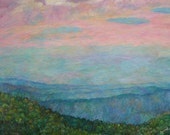 Evening Glow at Rock Castle Gorge 30x40 original oil ptg. Impressionism KENDALL KESSLER