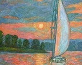 Smith Mountain Lake Art 20x16 Impressionist Lake Oil Painting by Award Winner Kendall Kessler