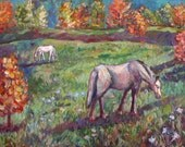 Blue Ridge Pasture Art 12x16 Impressionist horses original painting by KENDALL KESSLER