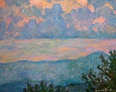 Bull Mountain Art Impressionist Blue Ridge Mountain Oil by Award Winning Artist  Kendall Kessler