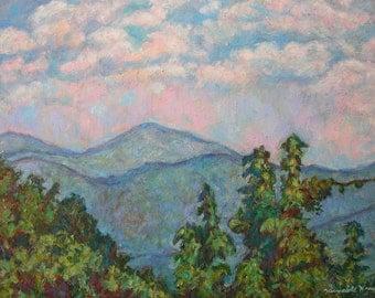 "Distant View Peaks of Otter Art 16""x12"" Impressionist mountain landscape Oil Ptg. Kendall Kessler"