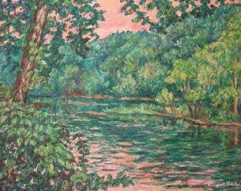 Evening River Motion Art 20x16 Original  Painting by Award Winning Artist KENDALL KESSLER