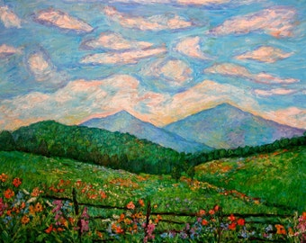 Cloud Swirl Over Peaks of Otter Art 24x18 Impressionist mountain oil painting by Kendall Kessler