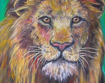 "Lion Stare Art 14""x11"" Impressionist Wildlife Portrait by Award Winning Artist Kendall Kessler"