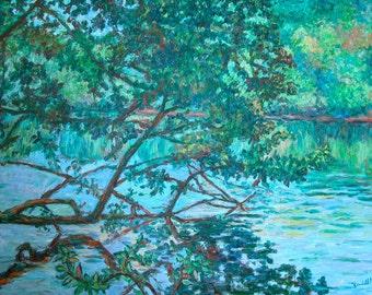 Bisset Park 40x30 Impressionist Landscape River Oil  Painting by Award Winner Kendall Kessler