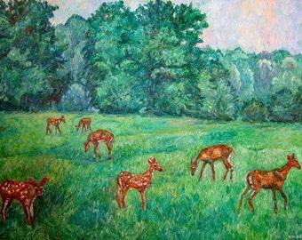 Deer at Peaks of Otter Art 40x30 Impressionist Landscape Oil Ptg. Award Winner Kendall  Kessler