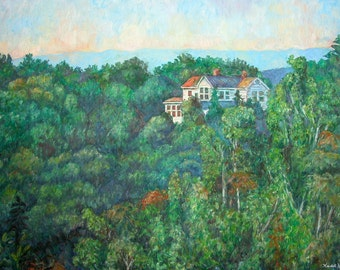 Near Memorial Bridge Art 40x30 Impressionist Landscape Oil Ptg. by Award Win Kendall F. Kessler