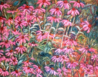 Cone Flowers 30x24 Impressionist Landscape Oil Painting by Award Winner  Kendall F. Kessler