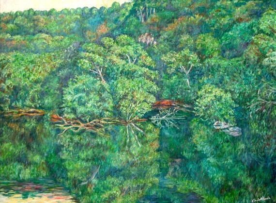 James River Reflections Art 40x30 Impressionist Landscape by Award Winner Kendall F. Kessler