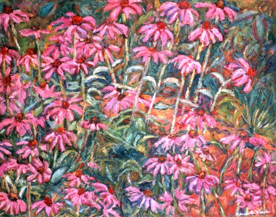 Cone Flowers 30x24 Impressionist Landscape Oil Painting by Award Winner  Kendall F. Kessler