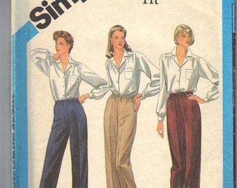 "Simplicity Uncut Sewing Pattern 6519 Misses' Elastic Waist Stretch Proportioned Pants Size 14 Waist 28"" inch Vintage"