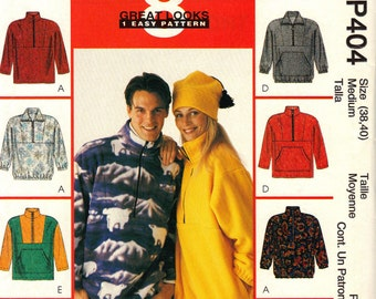 McCall's P404 Pullover Top and Hat Sewing Pattern Uncut Unisex for Stretch Knits Size Medium 38 40