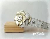 White and Gold  Flower Dog Collar,Swarovski Crystals