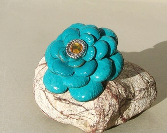 Turquoise Leather Flower -Dog Collar Loop