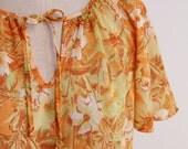 Vintage Blouse Flutter Sleeve Autumn Fall Floral M 60s 70s