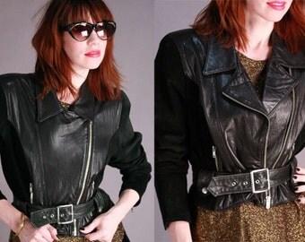 Vintage 80s Black Leather & Suede Jacket Cropped Belted Buckle Biker Rocker Zipper - Small