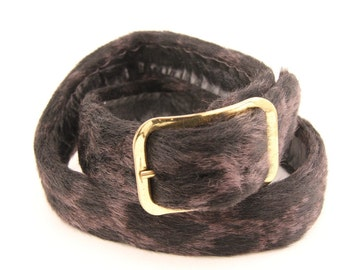 Vintage Fur Belt Black Grey Marbled Pony Hair Rare 60s