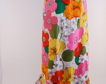 Vintage 60s Psychedelic Poppy Floral Ruffle Skirt - Extra Small