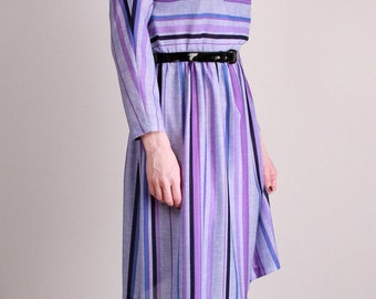 Vintage Dress Purple Striped Dress xs s 80s