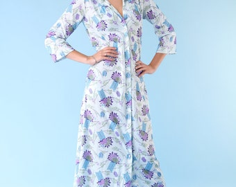 Vintage Nightgown House Lounge Dress 70s Floral Bamboo Pale Blue Purple Small