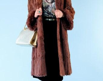 Vintage Fur Coat Auburn Ermine 1960s Stroller Full Length S M