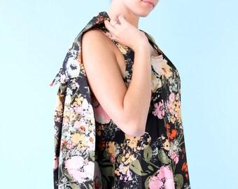 Vintage Black Floral Poppies Tank Blouse Shirt Cardigan Set 70s S