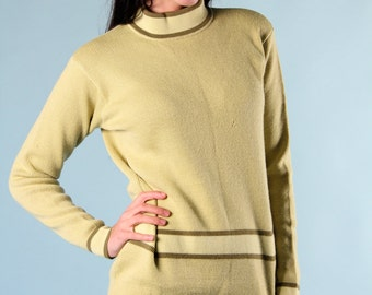 Vintage Wool Sweater Small Mod Lime Olive Green Striped 60s Snow Ski Wear Germany