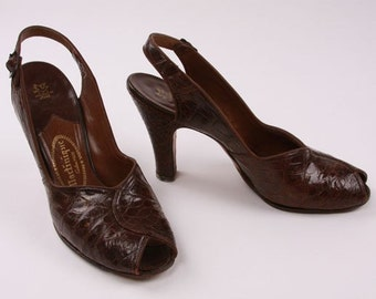 Vintage Heels Shoes Brown Alligator Sling Back Peep Toe 40s 50s Size 6