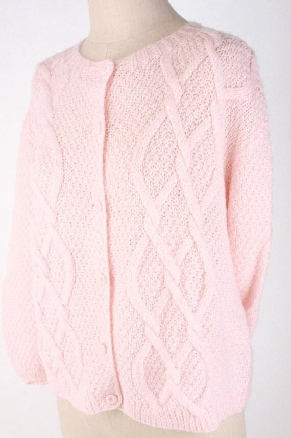 Vintage 1960s Pastel Pale Pink Sweater Cardigan Chunky Knit Crochet m 1950s