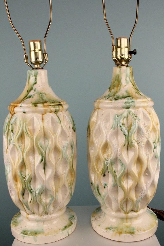 Vintage Retro Bubble Crackle Glaze Lamps Mid Century Modern 1960s Honeycomb