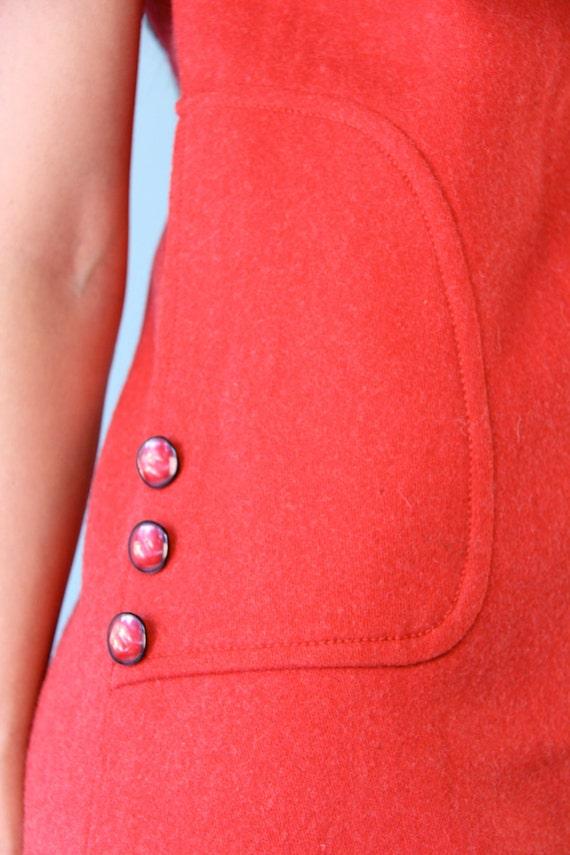 Vintage Cherry Red Mod Mini Twiggy Wool Dress 60s s Tunic Shift
